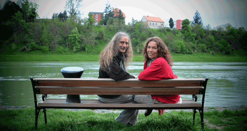 Ling and Mark by the Drava River, Maribor, Slovenia